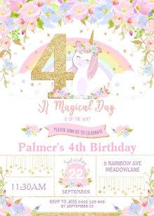 Unicorn 4th Birthday Invitation Floral Rainbow