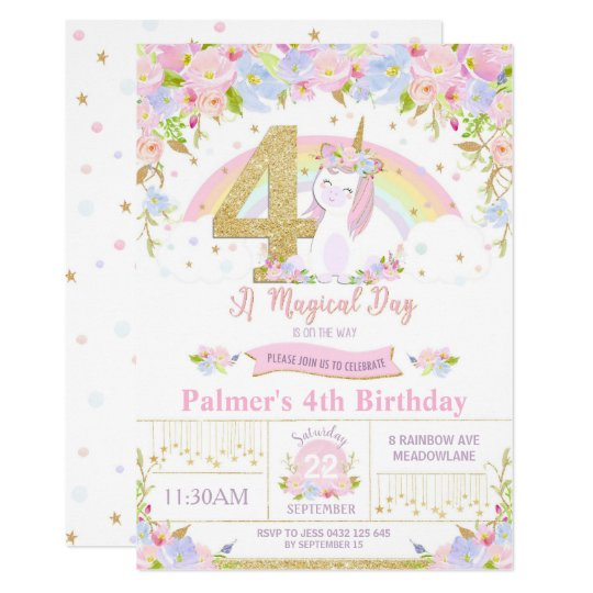 Unicorn 4th Birthday Invitation Floral Rainbow