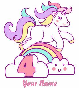 Unicorn 4th Birthday Toddler T Shirt