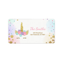 Unicorn Address Label Pink Gold Magical Rainbow
