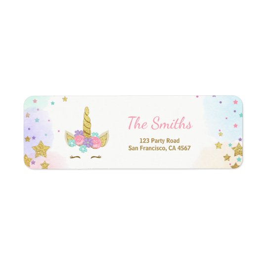 unicorn address label pink gold magical rainbow. Black Bedroom Furniture Sets. Home Design Ideas