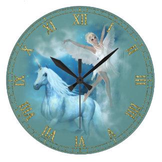 Unicorn and Angel Vignette Wall Clock
