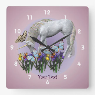 Unicorn And Butterflies Animal Wall Clock