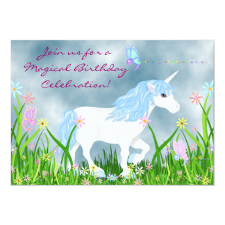 Unicorn and Butterflies Birthday Invitation