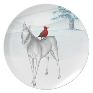 Unicorn and cardinal Holiday Plate
