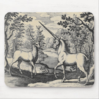 Unicorn and Deer Stag Mouse Pad