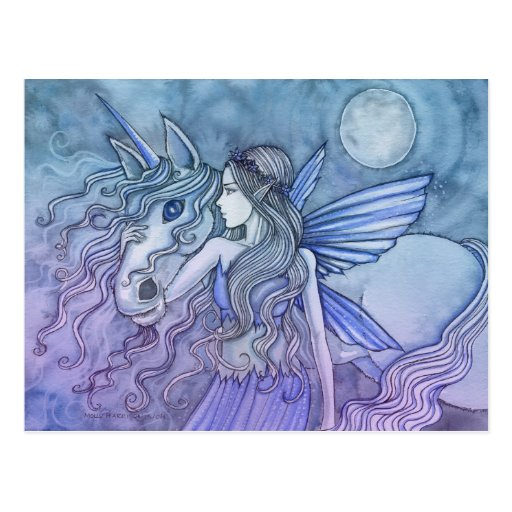 Unicorn and Fairy Postcard by Molly Harrison