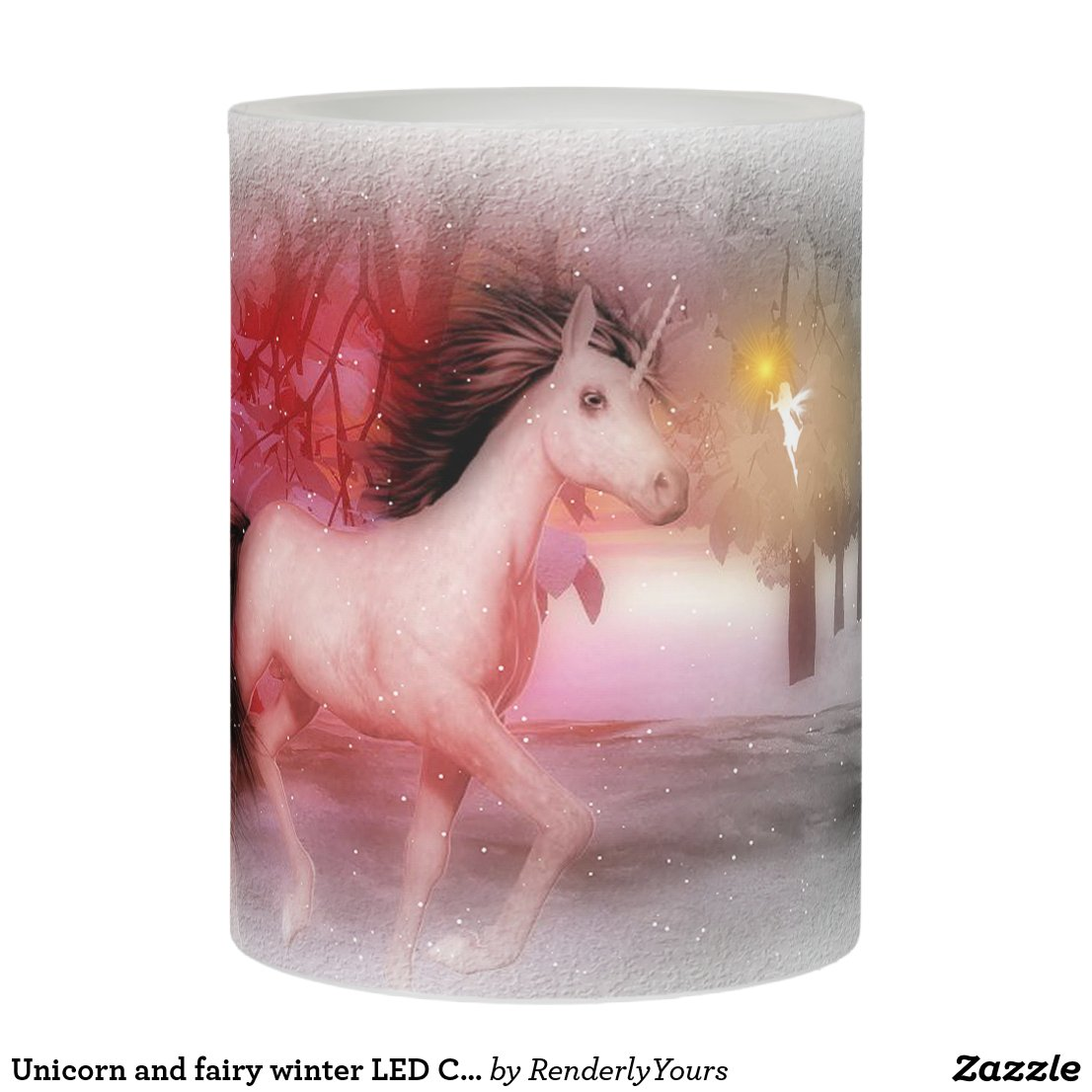 Unicorn and fairy winter LED Candle