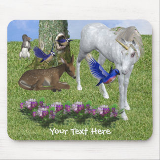 Unicorn And Forest Friends Fantasy Mousepad