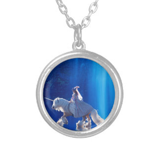 Unicorn and his mistress silver plated necklace