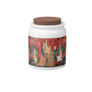 UNICORN AND LADY PLAYING ORGAN Red Green Floral Candy Jars
