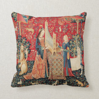 UNICORN AND LADY PLAYING ORGAN WITH ANIMALS THROW PILLOW