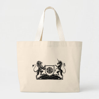 Unicorn and Lion Heraldic Coat of Arms Crest Large Tote Bag