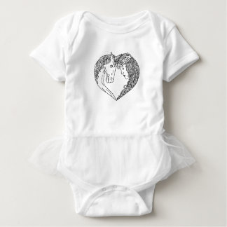 Unicorn and Maiden Heart Drawing Baby Bodysuit