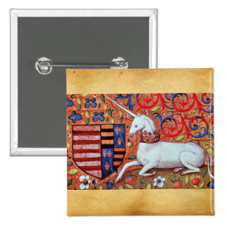 UNICORN AND MEDIEVAL FANTASY FLOWERS,FLORAL MOTIFS 2 INCH SQUARE BUTTON