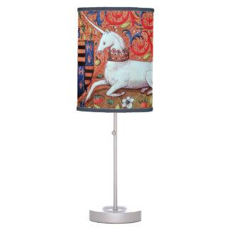 UNICORN AND MEDIEVAL FANTASY FLOWERS,FLORAL MOTIFS DESK LAMP
