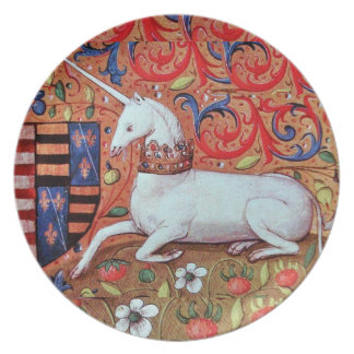 UNICORN AND MEDIEVAL FANTASY FLOWERS,FLORAL MOTIFS DINNER PLATE