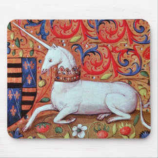 UNICORN AND MEDIEVAL FANTASY FLOWERS,FLORAL MOTIFS MOUSE PAD