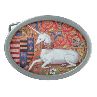 UNICORN AND MEDIEVAL FANTASY FLOWERS,FLORAL MOTIFS OVAL BELT BUCKLE