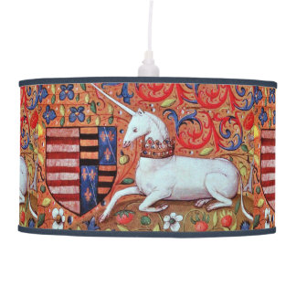 UNICORN AND MEDIEVAL FANTASY FLOWERS,FLORAL MOTIFS PENDANT LAMP