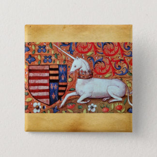 UNICORN AND MEDIEVAL FANTASY FLOWERS,FLORAL MOTIFS PINBACK BUTTON