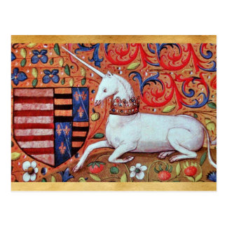 UNICORN AND MEDIEVAL FANTASY FLOWERS,FLORAL MOTIFS POSTCARD