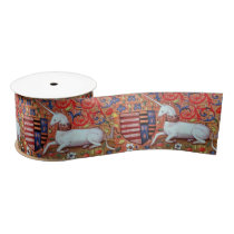 UNICORN AND MEDIEVAL FANTASY FLOWERS,FLORAL MOTIFS SATIN RIBBON