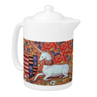 UNICORN AND MEDIEVAL FANTASY FLOWERS,FLORAL MOTIFS TEAPOT