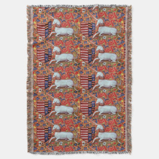 UNICORN AND MEDIEVAL FANTASY FLOWERS,FLORAL MOTIFS THROW BLANKET