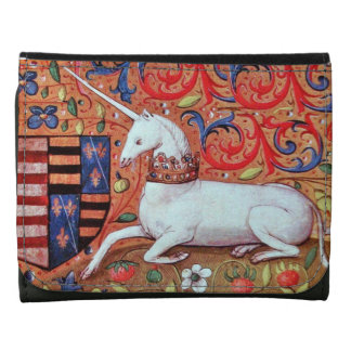 UNICORN AND MEDIEVAL FANTASY FLOWERS,FLORAL MOTIFS WALLETS