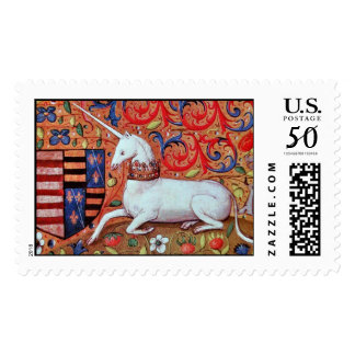 UNICORN AND MEDIEVAL FLOWERS,FANTASY FLORAL MOTIFS POSTAGE