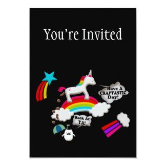 "Unicorn And Penguin Craptastic Day 5"" X 7"" Invitation Card"