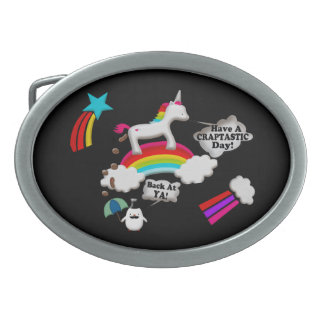 Unicorn And Penguin Craptastic Day Oval Belt Buckle