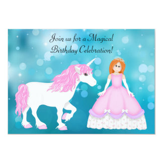 Unicorn and Princess with Red Hair Birthday 5x7 Paper Invitation Card