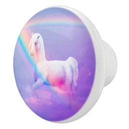 Unicorn and Rainbow Ceramic Knob