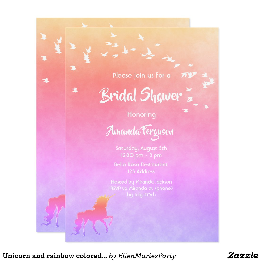 Unicorn and rainbow colored Bridal Shower Card