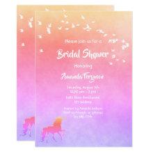 Unicorn and rainbow colored Bridal Shower Invitation