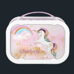 """Unicorn and Rainbow Lunch Box<br><div class=""""desc"""">Be ready for back to school with this stylish lunchbox,   This unicorn looks right at home in the pink clouds with a rainbow and faux gold stars and accents.  Personalize this lunchbox with your child&#39;s name and she will be waiting for the first day of school.</div>"""