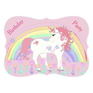 Unicorn and Rainbow Pink Birthday Invitations