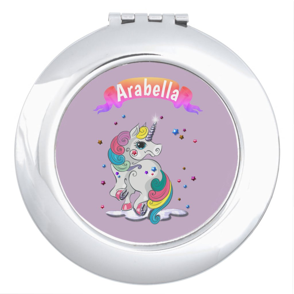 Unicorn and Rainbow Stars Compact Mirror