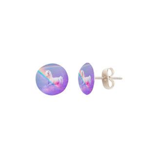 Unicorn and Rainbow Stud Earrings