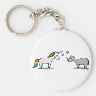Unicorn and rhinoceros fall in love keychain