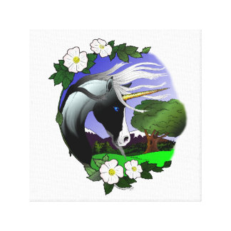 Unicorn and Roses Canvas Print
