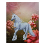 Unicorn And Roses Fantasy Horse Poster