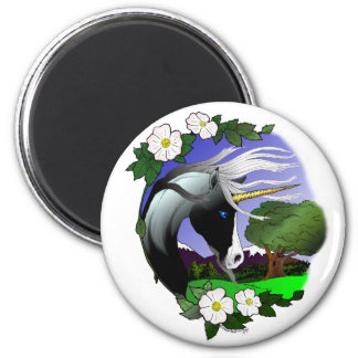 Unicorn and Roses III ©2011 2 Inch Round Magnet