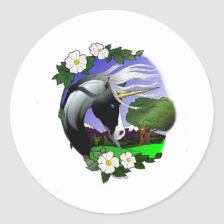 Unicorn and Roses III ©2011 Classic Round Sticker