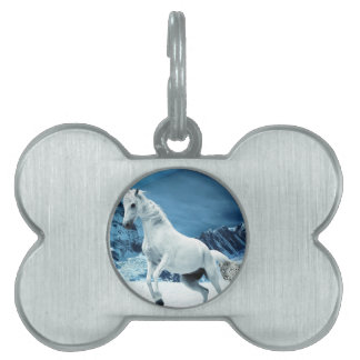 Unicorn and Snow Leopard Mythical Enchanted Pet ID Tag