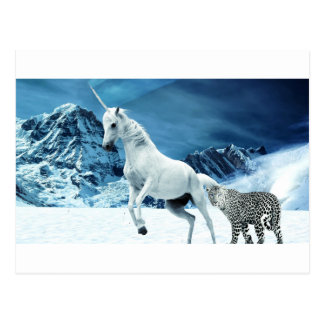 Unicorn and Snow Leopard Mythical Enchanted Postcard