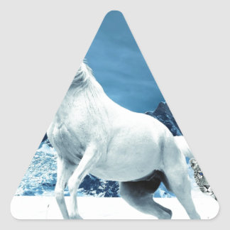 Unicorn and Snow Leopard Mythical Enchanted Triangle Sticker