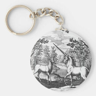Unicorn and Stag - White keyrings Basic Round Button Keychain
